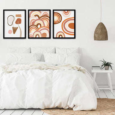 Terracotta Rainbows by Wall + Wonder 3 Piece Framed Triptych - Americanflat