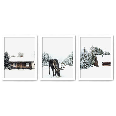 Snowy Cabin by Tanya Shumkina - 3 Piece Framed Triptych Wall Art Set - Americanflat