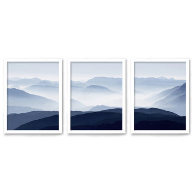 Panoramic Mountains by Tanya Shumkina - 3 Piece Framed Triptych Wall Art Set - Americanflat