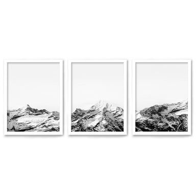 Snowy Mountain Caps by Tanya Shumkina - 3 Piece Framed Triptych Wall Art Set - Americanflat