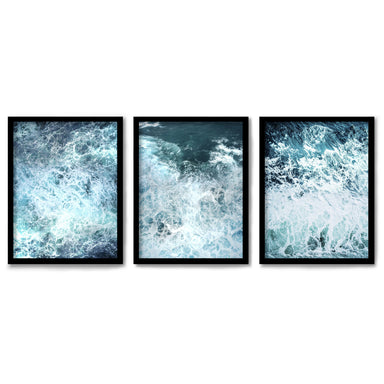 Stormy Ocean Waves by Tanya Shumkina 3 Piece Framed Triptych
