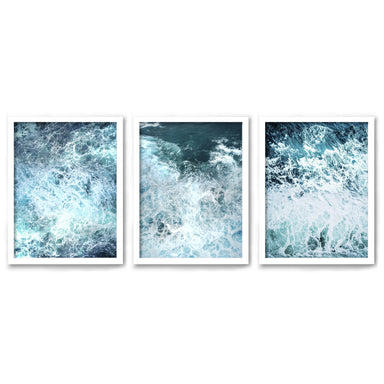 Stormy Ocean Waves by Tanya Shumkina - 3 Piece Framed Triptych Wall Art Set - Americanflat