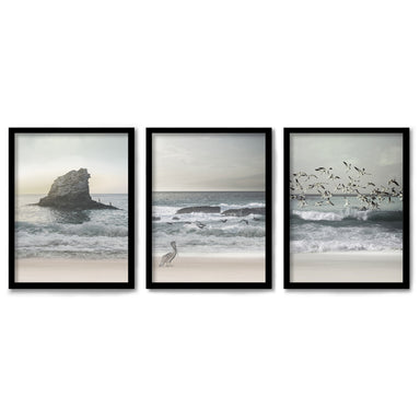 Morning Beach Walks by Tanya Shumkina 3 Piece Framed Triptych