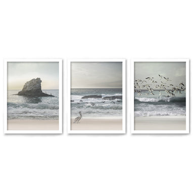 Morning Beach Walks by Tanya Shumkina - 3 Piece Framed Triptych Wall Art Set - Americanflat