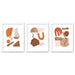 Terracotta Abstract Shapes by Wall + Wonder - 3 Piece Framed Triptych Wall Art Set - Americanflat