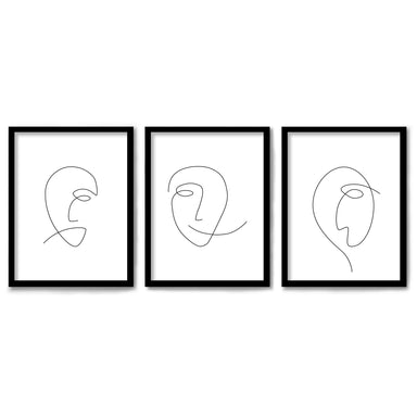 Minimalist Female Faces by Explicit Design 3 Piece Framed Triptych