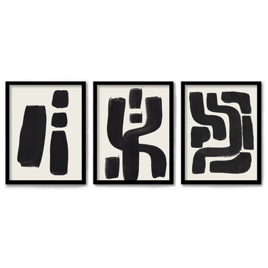 Ink Mazes by Ejaaz Haniff 3 Piece Framed Triptych
