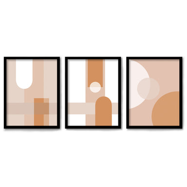 Abststract Terracotta by Monica Pop 3 Piece Framed Triptych