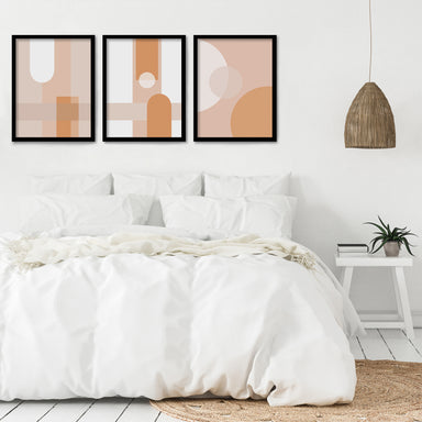 Abststract Terracotta by Monica Pop 3 Piece Framed Triptych - Americanflat
