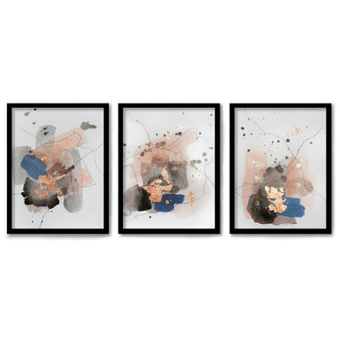 Watercolor Splashes by Christine Olmstead 3 Piece Framed Triptych