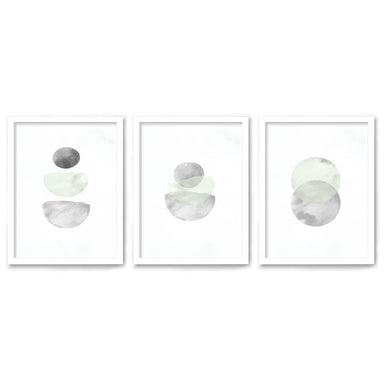 Retro Geo in Stone by Tanya Shumkina - 3 Piece Framed Triptych Wall Art Set - Americanflat
