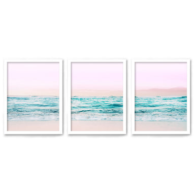 Pastel Beaches by Tanya Shumkina - 3 Piece Framed Triptych Wall Art Set - Americanflat