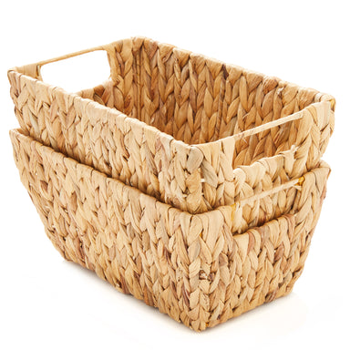 Natural Hand Woven Water Hyacinth Basket - Pack of 2 - Basket - Americanflat