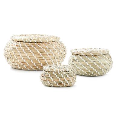Natural Hand Woven Seagrass Basket - Pack of 3 - Basket - Americanflat