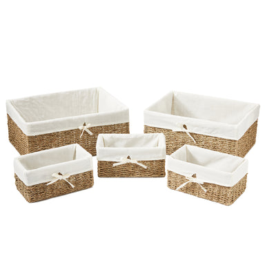 Natural Hand Woven Seagrass Baskets - Pack of 5 - Basket - Americanflat