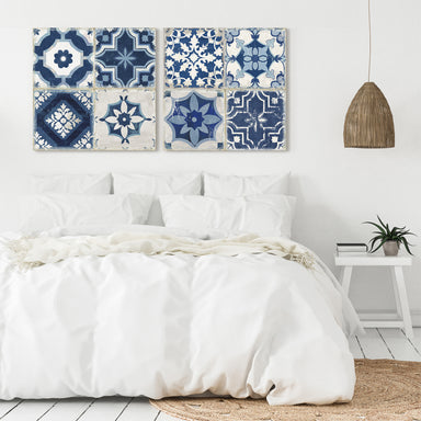 Indigo Mosaic Tile by PI Creative Art - 2 Piece Gallery Wrapped Canvas Set - Art Set - Americanflat