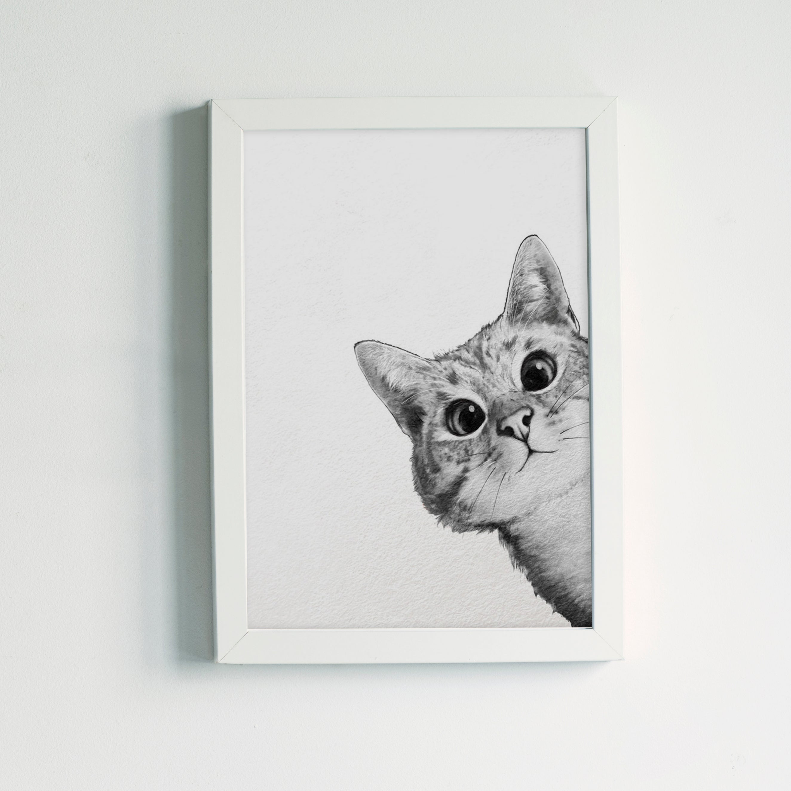 Sneaky Cat by Laura Graves White Framed Print