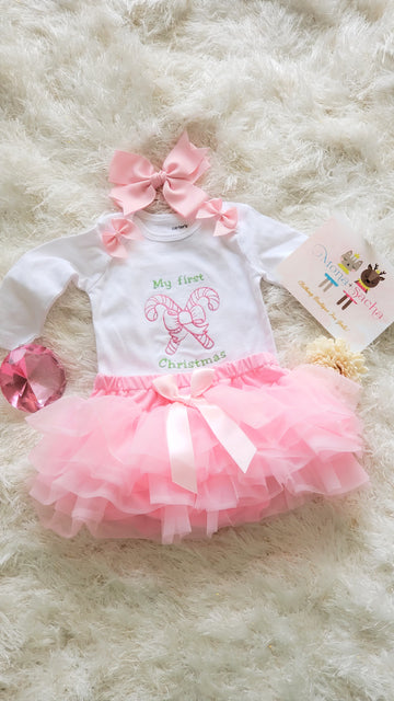Baby 1st Christmas tutu outfit, My First Christmas Tutu Set