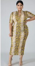 Load image into Gallery viewer, Mustard Snake Midi Dress (PLUS)