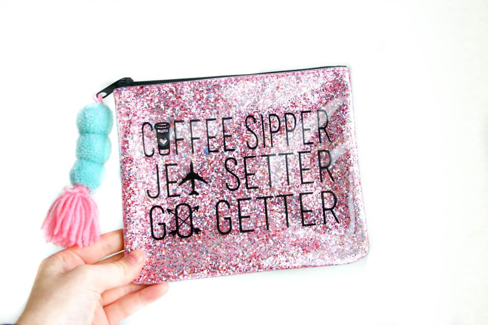 Glitter Pom Make Up Bags