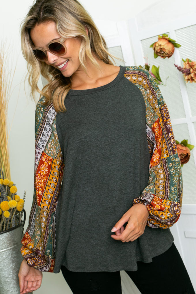 Fall Floral Sleeve Top