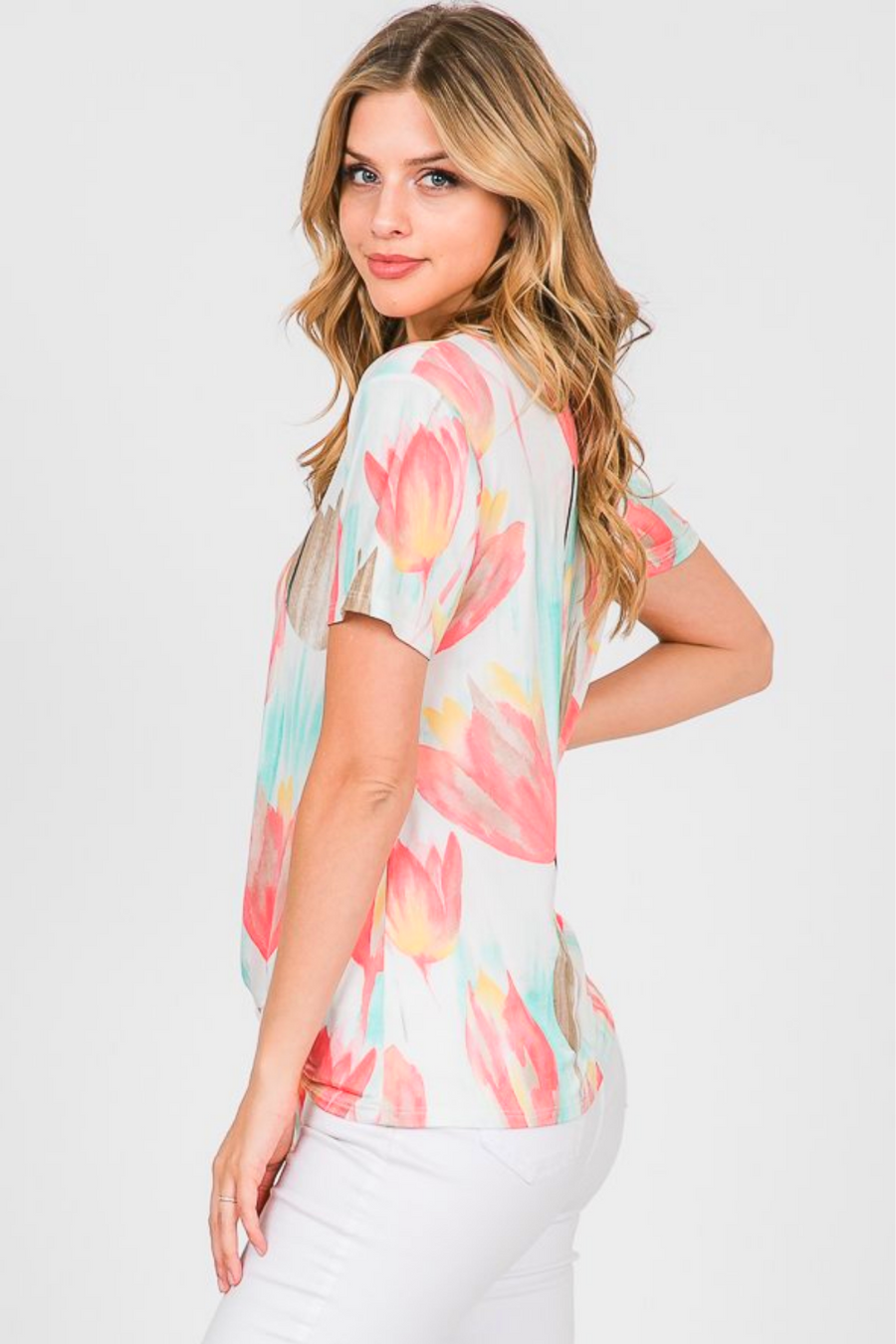 Tulips in Bloom Tie Front Top