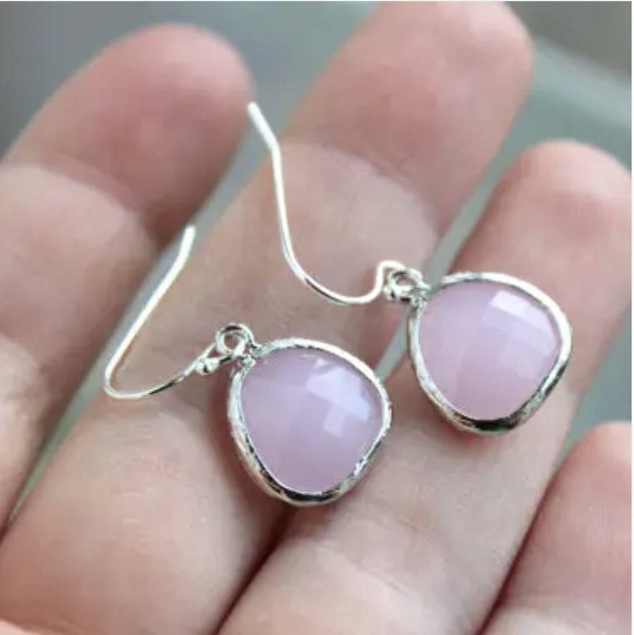 Pink Opal Dangle Earrings