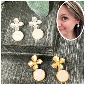 Mother of Pearl Flower Dangle Earring