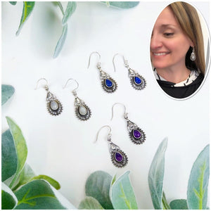 Silver Stone Drop Earrings