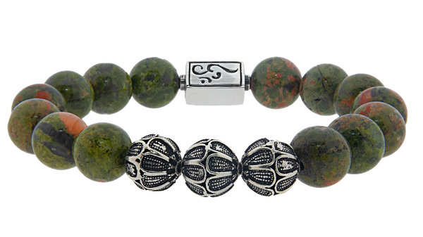 caedentes - Premium Green Jasper (12mm) silver - Caedentes Clan -