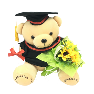 "9"" Graduation Bear with Flower (TT-180)"