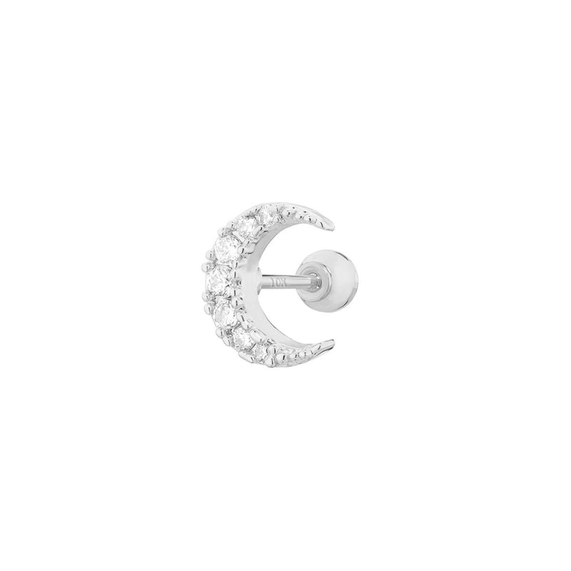 9K Crystal Crescent Moon Piercing