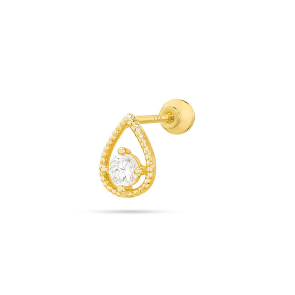 14K Hollow Teardrop Barbell