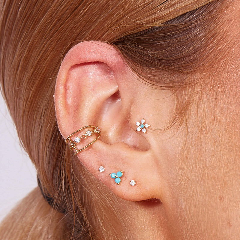 Turquoise Flower Piercing