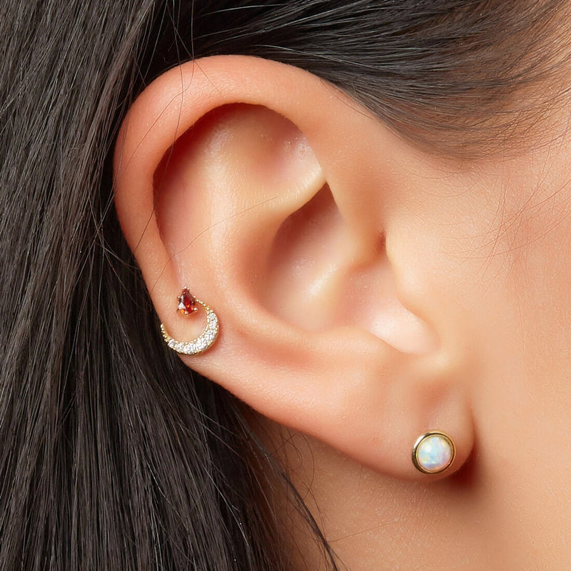 Crystal Crescent Moon Piercing