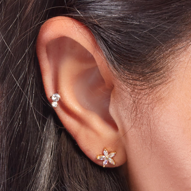 14K Double Crystal Barbell