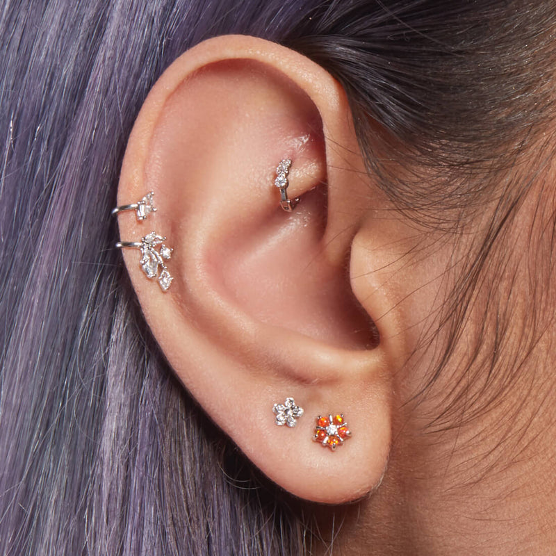 Orange Opal Flower Piercing
