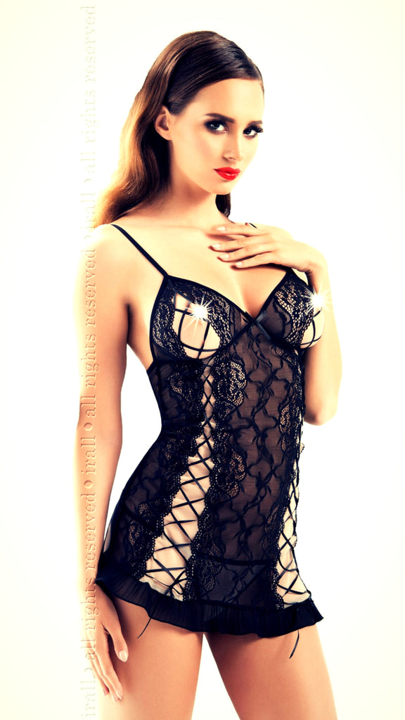 woman wearing a raunchy black chemise