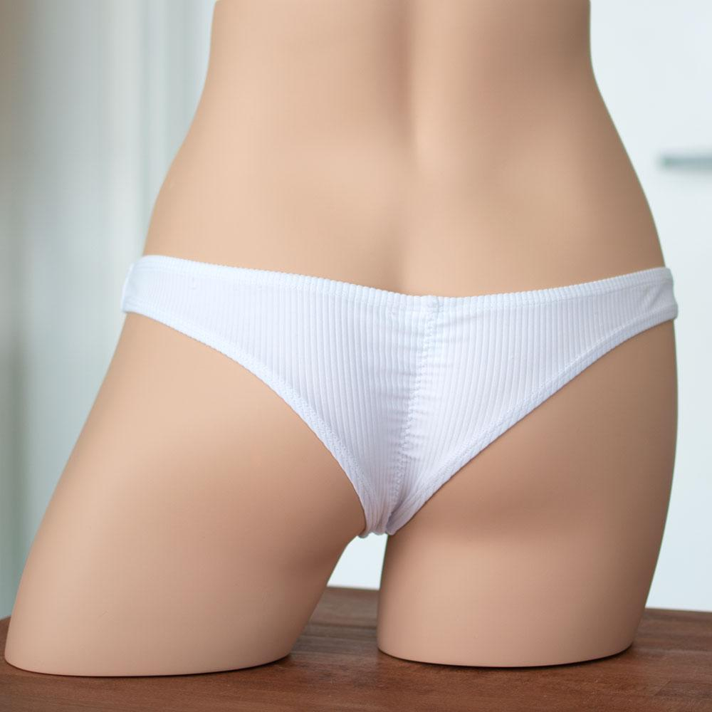 Ribbed White Ultra Cheeky Scrunched Bottom - FJ SWIM
