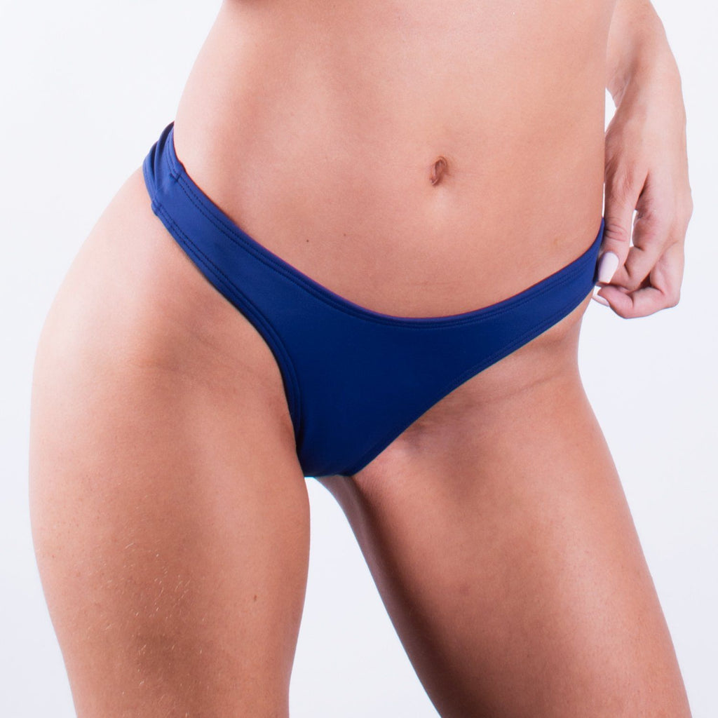 Navy Blue High Rise Cheeky BottomSwimwear - FJ SWIM