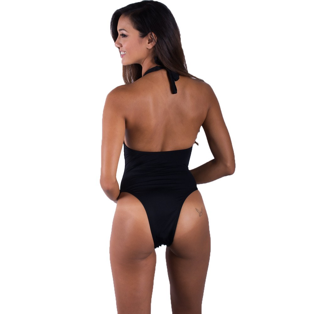 Black Halter One Piece Swimsuit - FJ SWIM