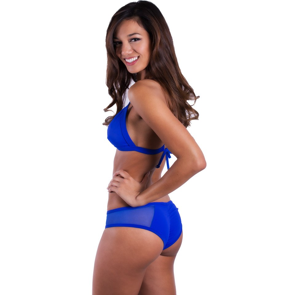 Royal Blue/Mesh X Back Halter Bikini Top