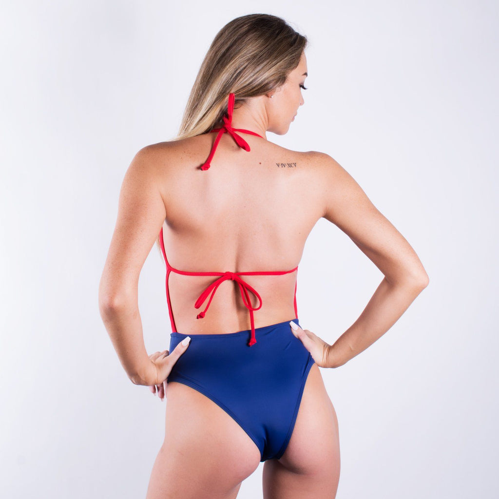 Red/Navy Blue 2 Tone Mono-Kini One Piece Swimsuit - FJ SWIM