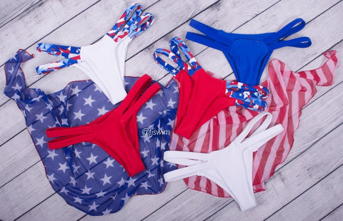 Red/Stars Triangle Bikini Set