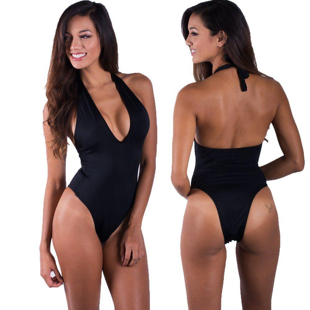 Swimwear - Black Halter One Piece Swimsuit