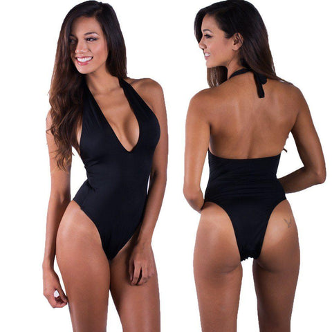 Tan Classic Tie One Piece Swimsuit