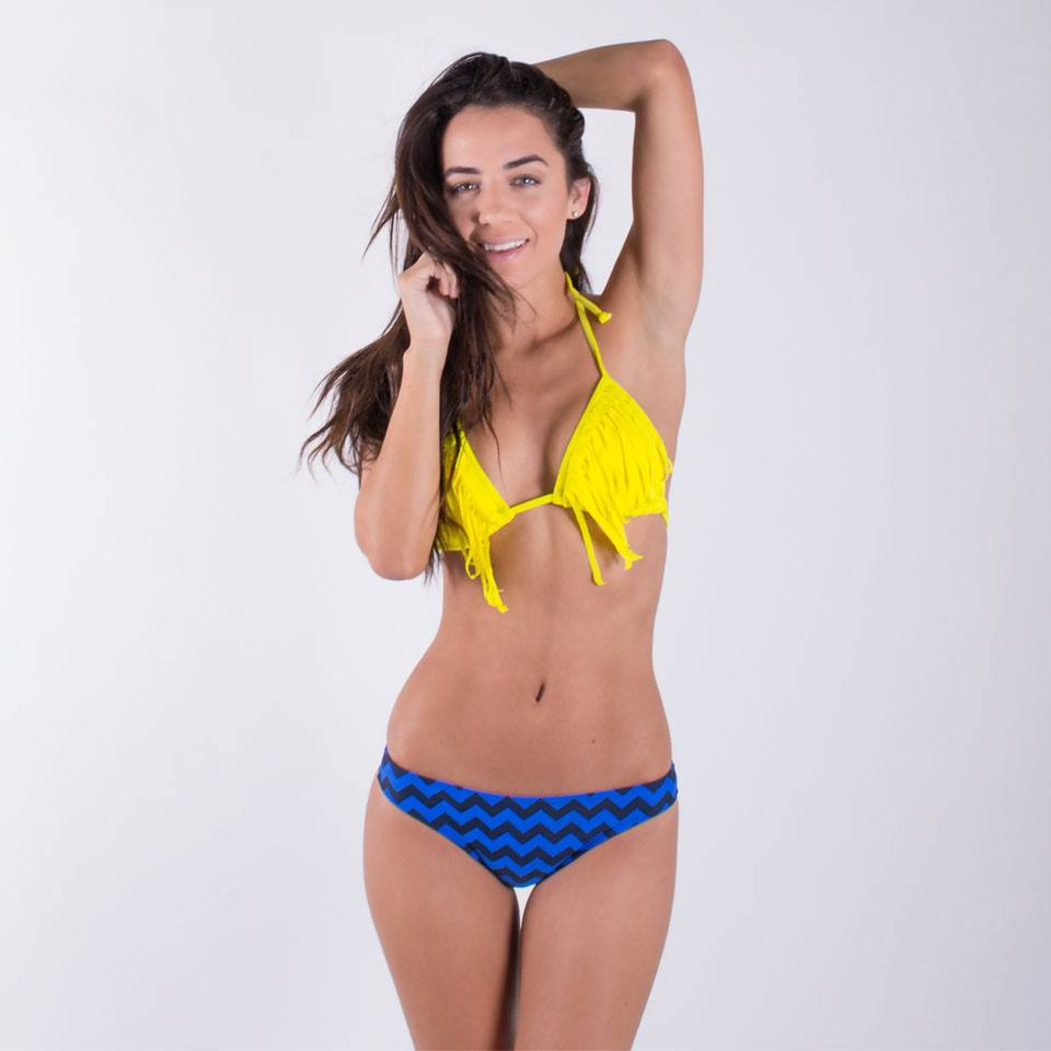 Blue Chevron Ultra Cheeky Scrunched Bottom - FJ SWIM