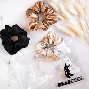 Load image into Gallery viewer, Pack of x3 scrunchies (coffee, Latte & black) - Scrunchie | Dear Deer -- retail, scrunchie