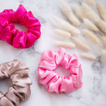 Pack of x3 scrunchies (pink, rose gold & fuchsia) LIMITED EDITION