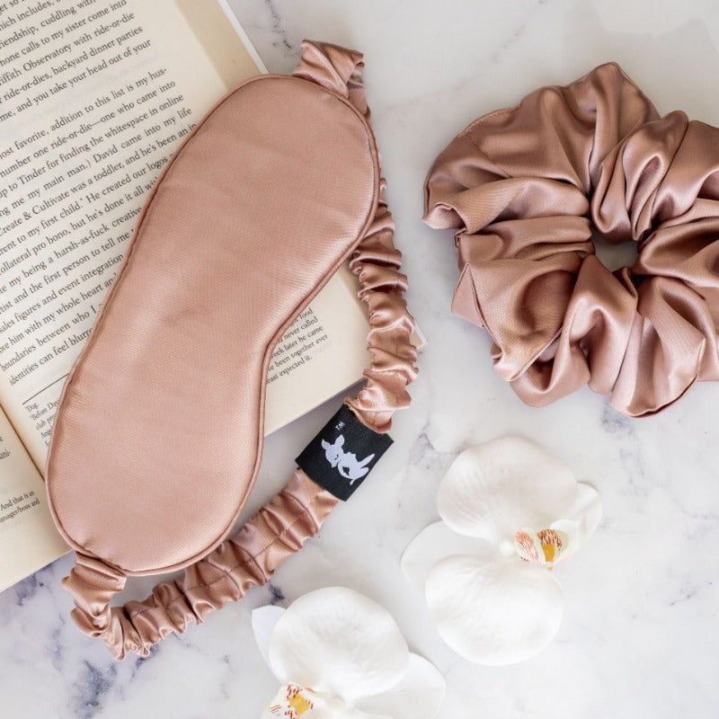 Rose Gold Satin Eye Mask & Scrunchie Set - Eye Mask | Dear Deer -- Combo, Eye Mask, scrunchie